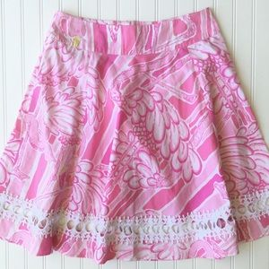 Lilly Pulitzer Pink Neckin' Cotton Flamingo Skirt